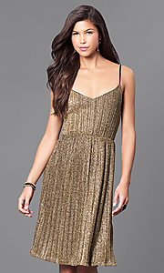 Gold Knee-Length Glitter Holiday Party Dress