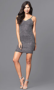 Image of short metallic silver v-neck mini party dress. Style: JTM-JD7369 Detail Image 1