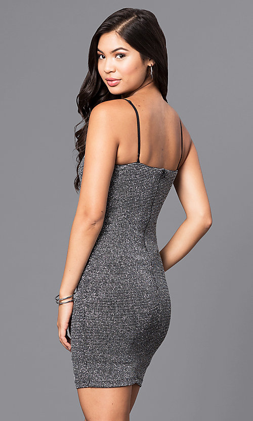Image of short metallic silver v-neck mini party dress. Style: JTM-JD7369 Back Image