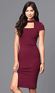 Knee-Length Wine Red Short Cap Sleeve Dress