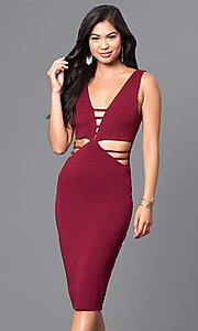 Midi-Length Burgundy Red Short Holiday Party Dress