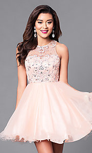 Illusion Sweetheart Fit-and-Flare Homecoming Dress