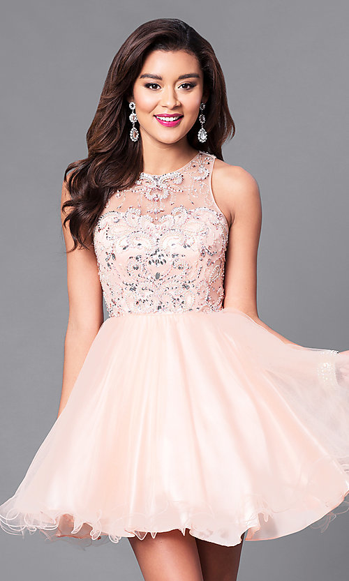 Image of illusion sweetheart fit-and-flare homecoming dress. Style: DQ-9179 Front Image