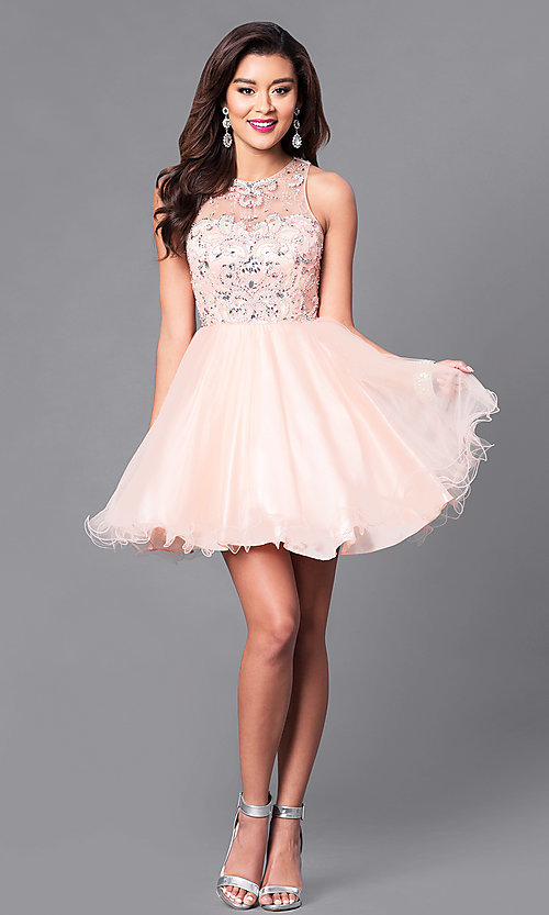 Image of illusion sweetheart fit-and-flare homecoming dress. Style: DQ-9179 Detail Image 1