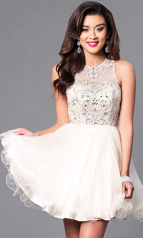 Image of illusion sweetheart fit-and-flare homecoming dress. Style: DQ-9179 Detail Image 2