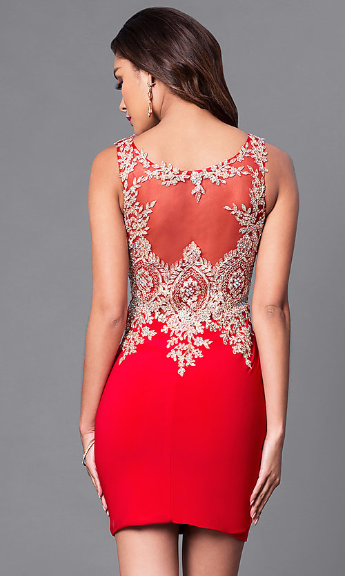 Image of illusion-sweetheart sheer-back homecoming dress. Style: DQ-9219 Back Image