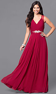 Image of long v-neck formal dress with jeweled empire waist. Style: DQ-9539 Detail Image 1