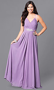 Image of long v-neck formal dress with jeweled empire waist. Style: DQ-9539 Detail Image 4