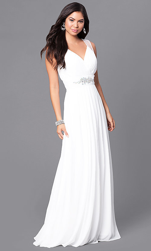 Image of long v-neck formal dress with jeweled empire waist. Style: DQ-9539 Detail Image 2