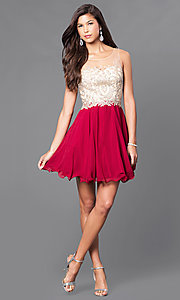 Image of short a-line semi-formal party dress with beads. Style: DQ-9552 Detail Image 2