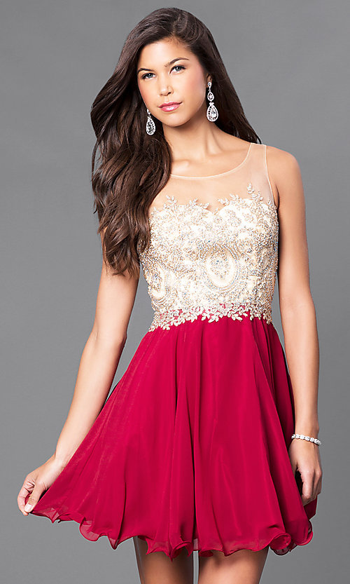 Image of short a-line semi-formal party dress with beads. Style: DQ-9552 Detail Image 1