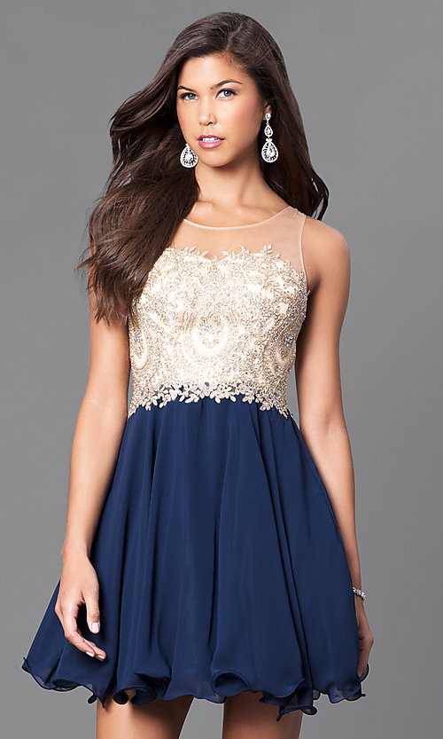 Image of short a-line semi-formal party dress with beads. Style: DQ-9552 Front Image