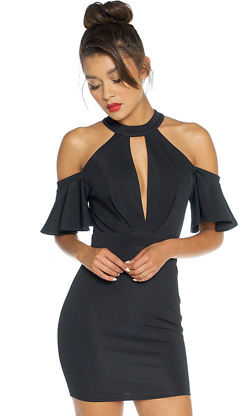 Image of short fitted high-neck party dress with cold shoulders. Style: LUX-LD3243 Detail Image 1