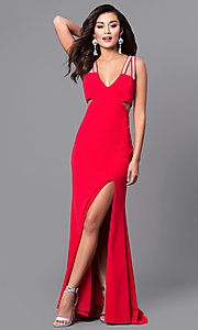 Image of v-neck red long prom dress with cut outs. Style: DMO-J315606 Front Image