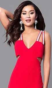 Image of v-neck red long prom dress with cut outs. Style: DMO-J315606 Detail Image 1