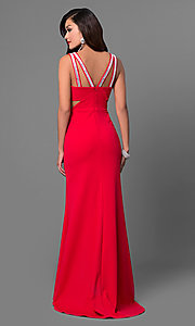 Image of v-neck red long prom dress with cut outs. Style: DMO-J315606 Back Image