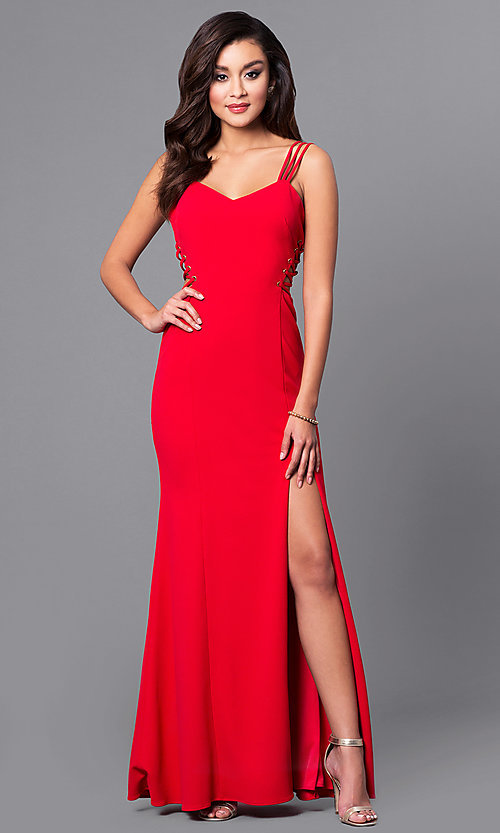 Image of v-neck long red prom dress with lace-up sides.  Style: DMO-J315816 Back Image