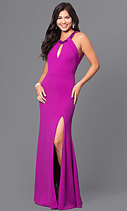 Image of purple long jersey prom dress with beaded collar. Style: DMO-J315516 Front Image
