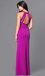 Image of purple long jersey prom dress with beaded collar. Style: DMO-J315516 Back Image