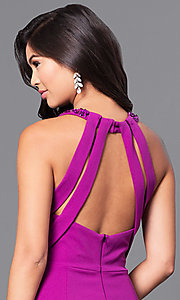 Image of purple long jersey prom dress with beaded collar. Style: DMO-J315516 Detail Image 2