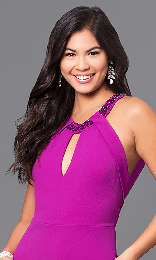Image of purple long jersey prom dress with beaded collar. Style: DMO-J315516 Detail Image 1
