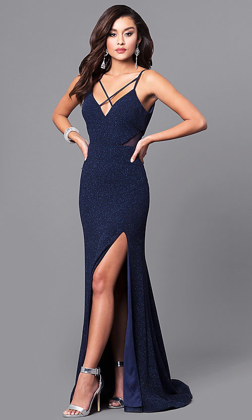 69d41883409 Image of glitter navy blue long prom dress with open back. Style  DMO-