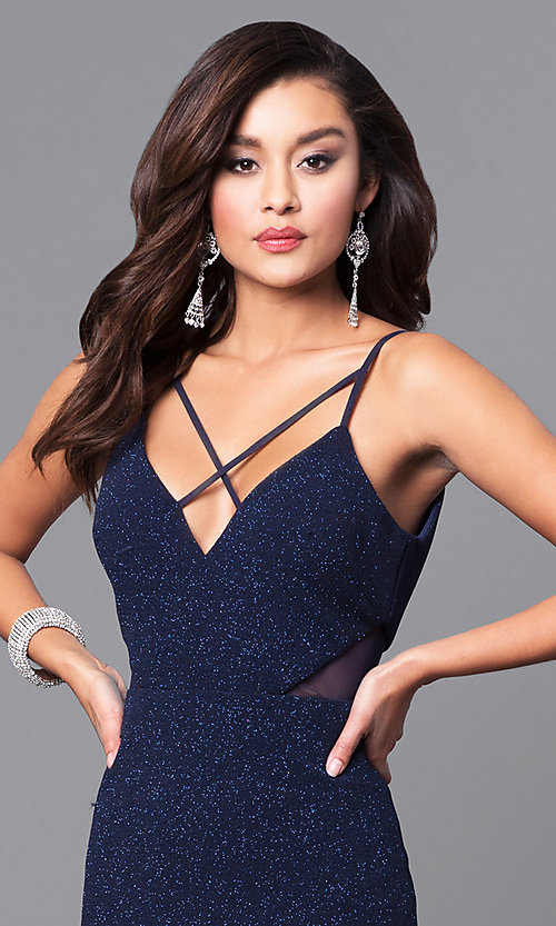 Image of glitter navy blue long prom dress with open back. Style: DMO-J315706 Detail Image 1