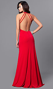 Image of v-neck red long prom dress with open back. Style: DMO-J315966 Back Image