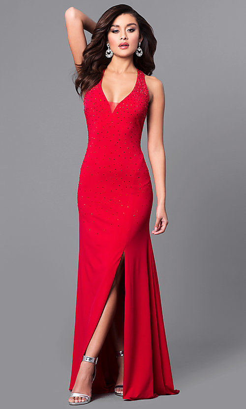 Image of v-neck red long prom dress with open back. Style: DMO-J315966 Front Image