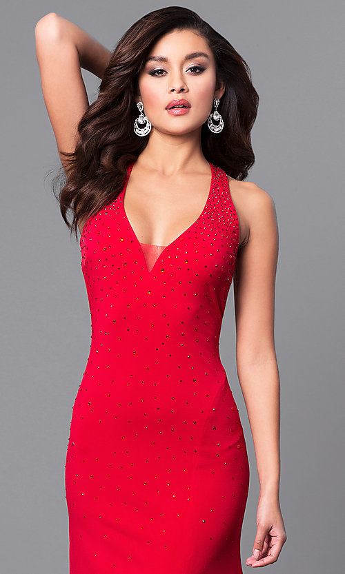 Image of v-neck red long prom dress with open back. Style: DMO-J315966 Detail Image 1