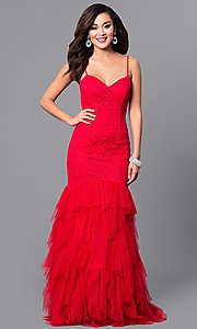 Image of long red lace v-neck prom dress with tulle skirt. Style: DMO-J315866 Front Image