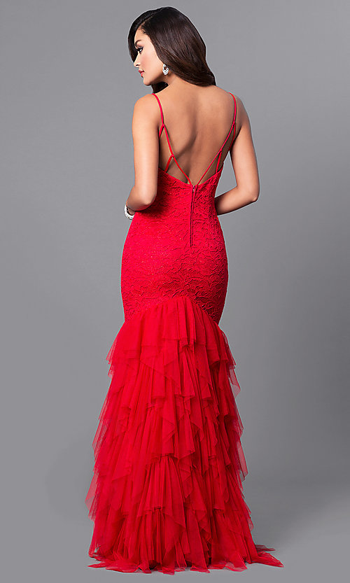 Image of long red lace v-neck prom dress with tulle skirt. Style: DMO-J315866 Back Image