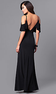 Image of black long prom dress with lace and cold shoulders. Style: DMO-J315136 Back Image