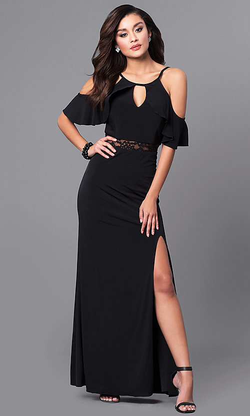 15dce855dc14 Image of black long prom dress with lace and cold shoulders. Style  DMO-