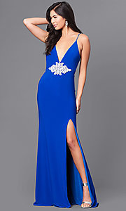 Royal Blue Long Prom Dress with Lace Applique