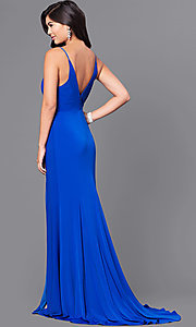 Image of royal blue long prom dress with lace applique. Style: DMO-J315956 Back Image