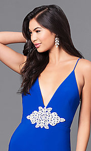 Image of royal blue long prom dress with lace applique. Style: DMO-J315956 Detail Image 1
