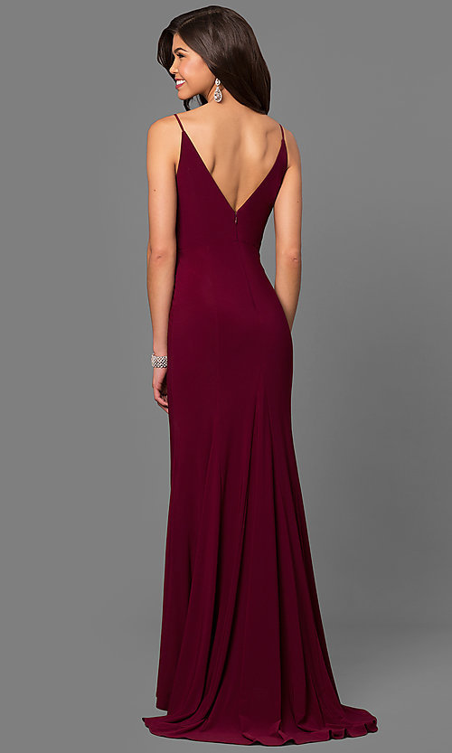 Image of wine red jersey v-neck long prom dress with side slit. Style: DMO-J315996 Back Image