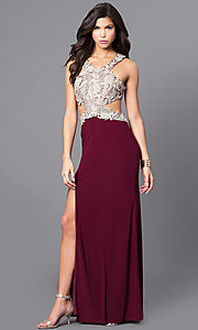 Image of gold lace-applique wine prom dress with cut-out back. Style: DMO-J315556 Front Image