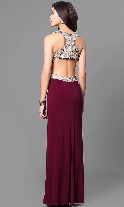 Image of gold lace-applique wine prom dress with cut-out back. Style: DMO-J315556 Back Image