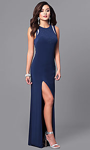 Image of navy blue long prom dress with back cut outs. Style: DMO-J315876 Back Image