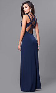 Image of navy blue long prom dress with back cut outs. Style: DMO-J315876 Front Image