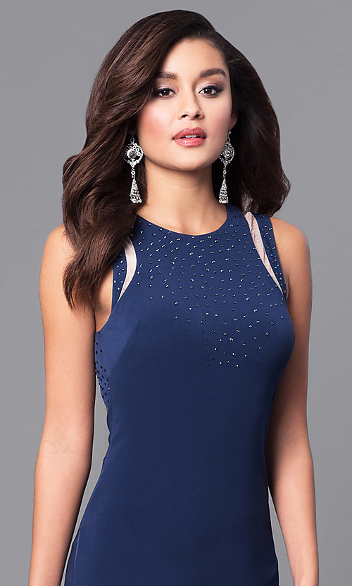 Image of navy blue long prom dress with back cut outs. Style: DMO-J315876 Detail Image 1