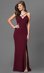 Image of burgundy red open-back prom dress in metallic jersey. Style: DMO-J315986 Front Image