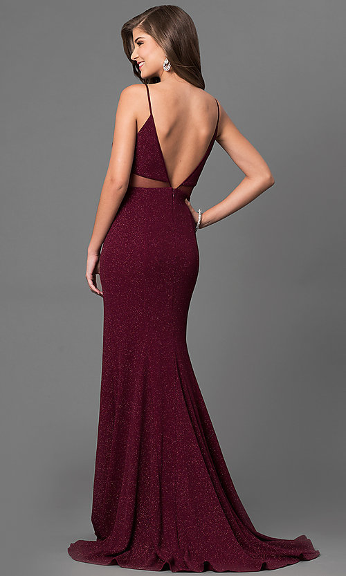 Image of burgundy red open-back prom dress in metallic jersey. Style: DMO-J315986 Back Image
