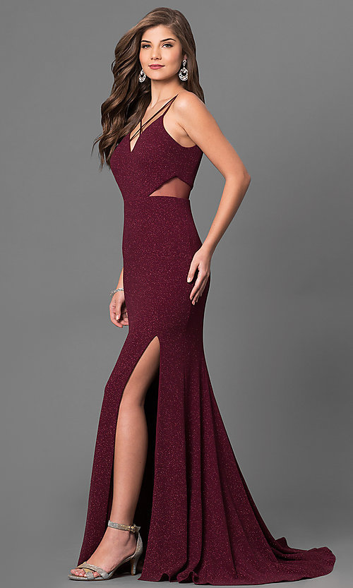 Image of burgundy red open-back prom dress in metallic jersey. Style: DMO-J315986 Detail Image 2