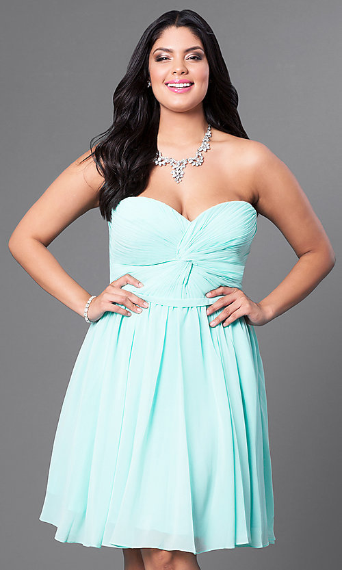 Short Ruched Plus Size Mint Blue Party Dress Promgirl