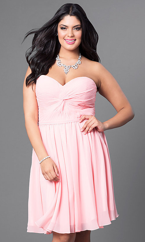 Image of champagne ruched plus-size party dress with corset. Style: DQ-8951WPc Detail Image 3