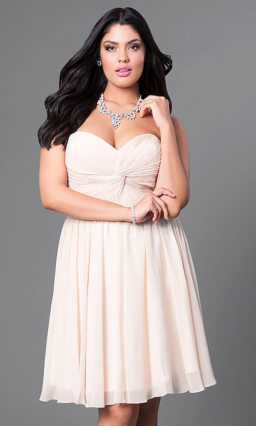 Image of champagne ruched plus-size party dress with corset. Style: DQ-8951WPc Front Image