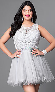 Image of plus-size silver fit-and-flare party dress. Style: DQ-9159WPs Front Image
